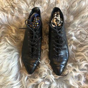 vintage kitten heel ankle boots